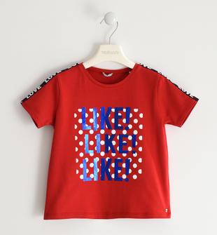 Simpatica t-shirt con trina stampata  ROSSO-2256