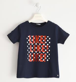 Simpatica t-shirt con trina stampata  NAVY-3885