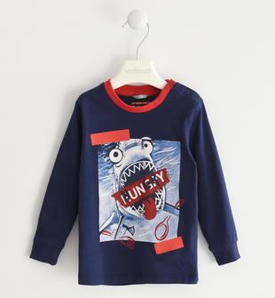 Maglietta girocollo 100% cotone con squalo affamato  NAVY-3854