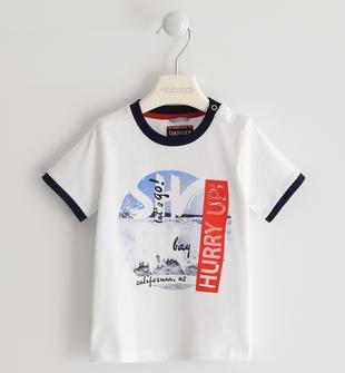 T-shirt 100% cotone con costina a contrasto  BIANCO-0113