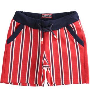 Morbido pantalone corto fantasia rigata 100% cotone  BIANCO-ROSSO-6MB6