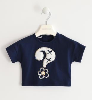 T-shirt in jersey stretch con punto interrogativo  NAVY-3854