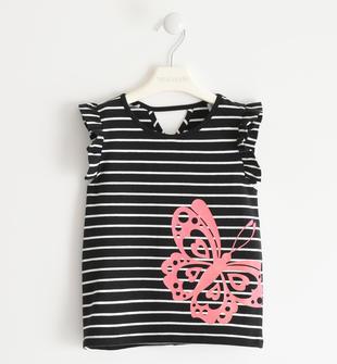Graziosa t-shirt con farfalla  NERO-0658