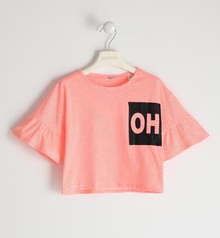 T-shirt in jersey stretch con stampa glitter  CORALLO FLUO-5824