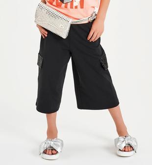 Pantalone modello palazzo con paillettes sulle tasche  NERO-0658