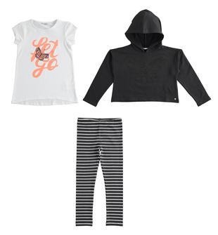 Completo tre pezzi felpa, maxi t-shirt e leggings  NERO-0658