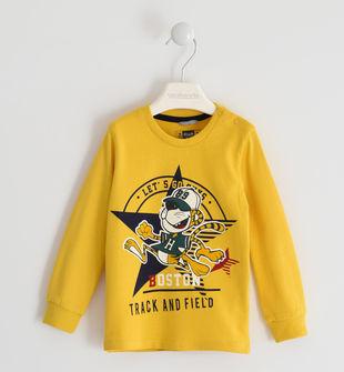 Simpatica maglietta girocollo 100% cotone  GIALLO-1615