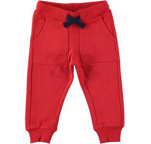 Caldissimo pantalone in felpa tinta unita  ROSSO-2253