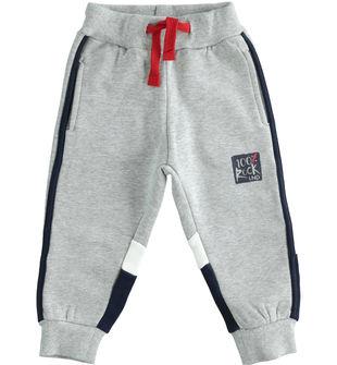 Pantalone in felpa garzata internamente con blocchi colore  GRIGIO MELANGE-8992
