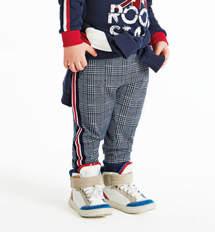 Morbido pantalone in checked jaquard con coulisse  NAVY-3854