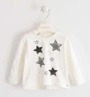 Maglietta girocollo in jersey con stelle  PANNA-0112