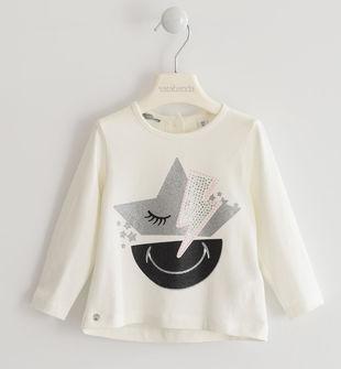 Maglietta girocollo con simpatica stampa glitter con strass  PANNA-0112