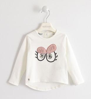 Simpatica maglietta girocollo in caldo jersey di cotone  PANNA-0112