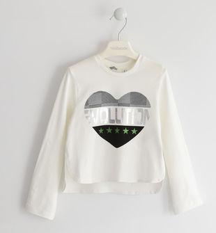Maglietta girocollo in jersey con cuore  PANNA-0112