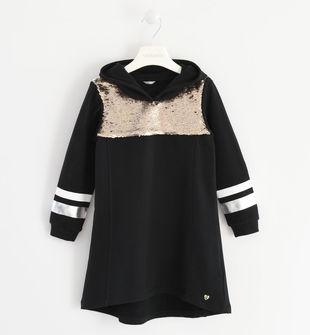Particolare abito in felpa garzata con paillettes  NERO-0658