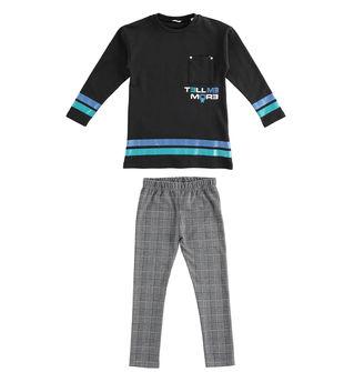 Completo con maxi felpa e leggings jacquard  NERO-0658