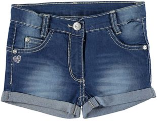 Short denim con piccolo cuore di strass  STONE WASHED - 7450
