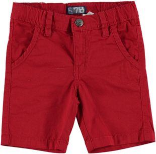 Pantalone corto in cotone con apertura con lampo e bottoni  ROSSO - 2253