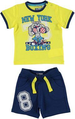 Completo 100% cotone t-shirt e pantaloncino con stampa sport  GIALLO-1435