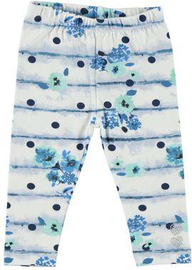 Leggings in cotone elasticizzato con stampa a pois e fantasia floreale  BIANCO-BLU - 6E14