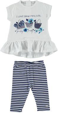 Completo maxi maglietta con fragole e leggings  BIANCO - 0113