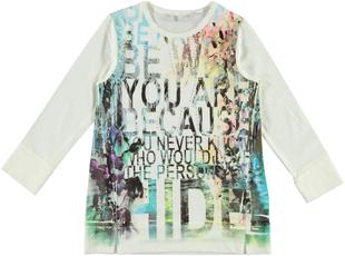 Maxi maglietta in cotone elasticizzato con stampa multicolore  PANNA - 0112