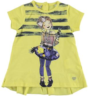 Abitino con ragazza rock in jersey stretch  GIALLO-1417