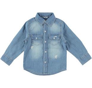 Camicia in denim a manica lunga per bambino  STONE BLEACH-7350