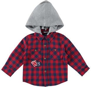 Camicia a quadri 100% cotone con cappuccio removibile  ROSSO-2253