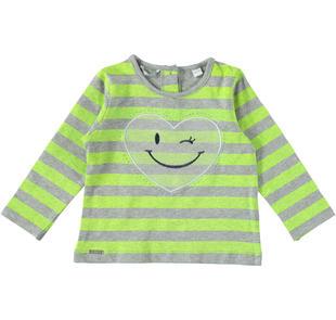 Maglietta girocollo per bambina con cuore in tulle  GRIGIO-GIALLO FLUO-6AC9