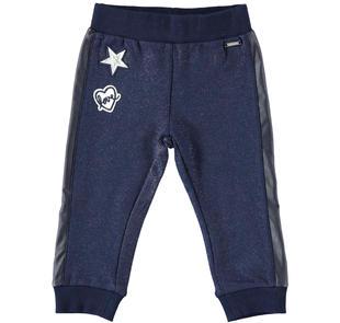 Pantalone in felpa per bambina con bande laterali in ecopelle  NAVY-3854