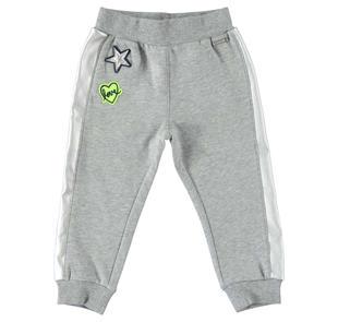 Pantalone in felpa per bambina con bande laterali in ecopelle  ALLOVER SILVER GLITTER-6X23