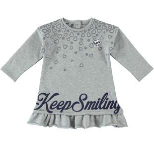 Vestitino in felpa glitter con cuori per bambina  ALLOVER SILVER GLITTER-6X23
