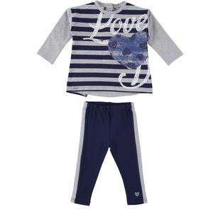 Completo maxi maglia fantasia rigata e leggings  NAVY-3854