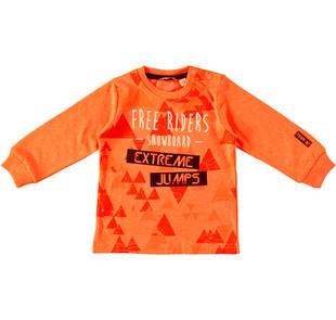 Maglietta girocollo in caldo cotone per bambino  ARANCIO FLUO-5821