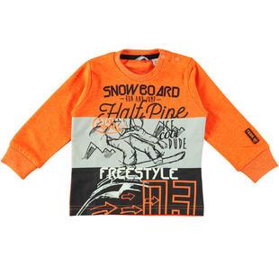 Maglietta in caldo cotone tema snowboard  ARANCIO FLUO-5821