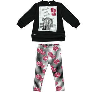 Completo maxi maglia e leggings con rose  NERO-0658
