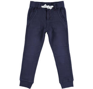 Pantalone modello jogger in felpa leggera 100% cotone  NAVY-3854