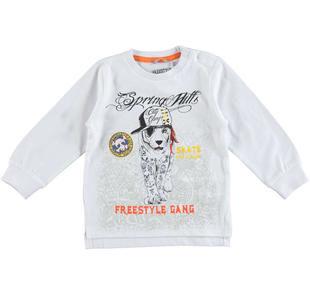 Maglietta a manica lunga in jersey 100% cotone con tigre  BIANCO-0113