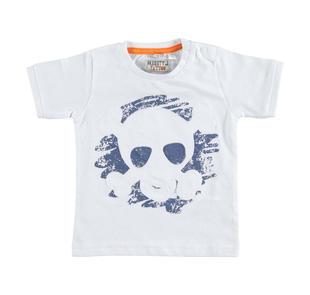 T-shirt in jersey 100% cotone con stampa motivo scheletri  BIANCO-0113