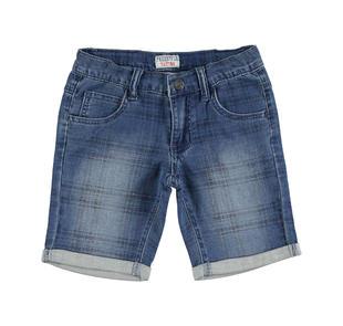 Pantalone corto in felpa stretch effetto denim con fantasia a quadri  DENIM-NAVY-6AT3