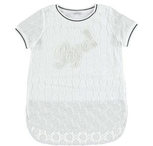 Maxi t-shirt in pizzo elasticizzato con applicazione di paillettes  BIANCO-0113