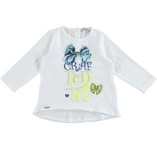 Maxi maglietta a manica lunga in jersey stretch di cotone con stampa frontale illuminata da strass  BIANCO-0113