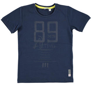 T-shirt in jersey 100% cotone con stampa frontale  NAVY-3854