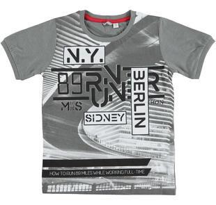 T-shirt realizzata in jersey 100% cotone con stampa frontale GRIGIO  MELANGE-8967 78fa38f73a79