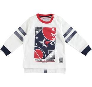Maglietta a manica lunga in jersey di cotone con stampa fronte/retro  BIANCO-0113