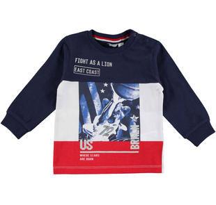 Maglietta a manica lunga in jersey 100% cotone con energica stampa sportiva  NAVY-3854