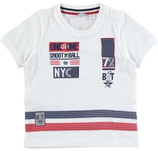 T-shirt in jersey di cotone decorata da stampa frontale  BIANCO-0113