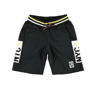 Pantalone corto in felpa 100% cotone con bande laterali  NERO-0658