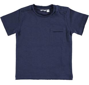 T-shirt in jersey fiammato 100% cotone  NAVY-3854